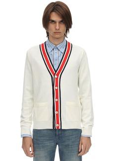 Gucci Web V-neck Wool Knit Cardigan