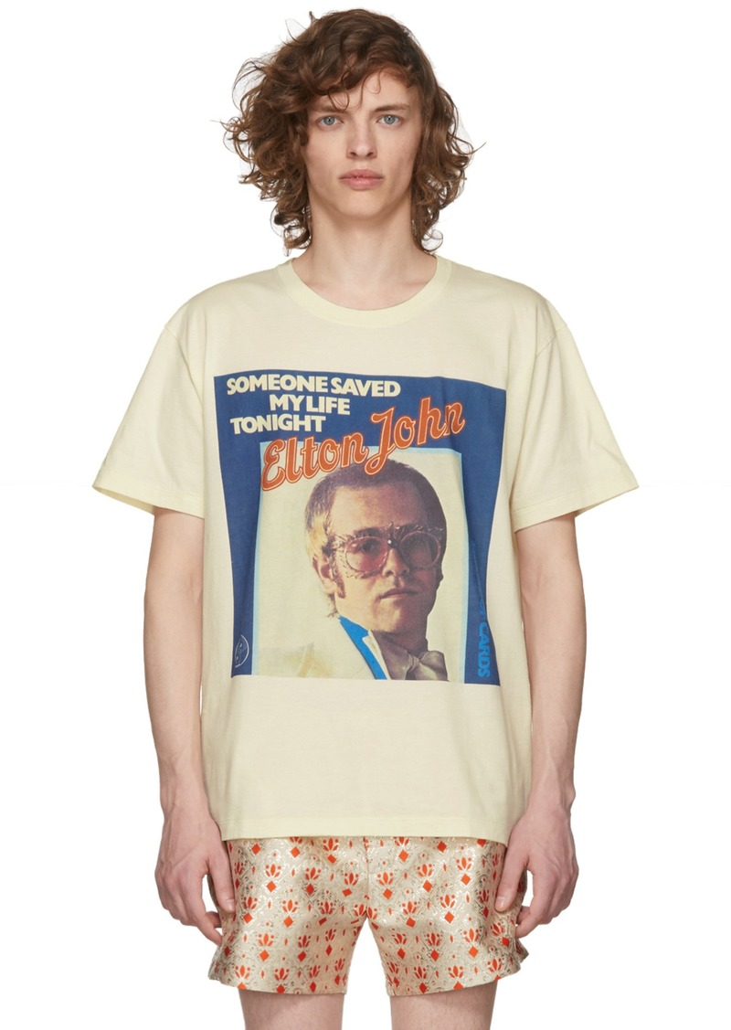 0fe2fe8ac023 Gucci White Elton John Print T-Shirt   T Shirts