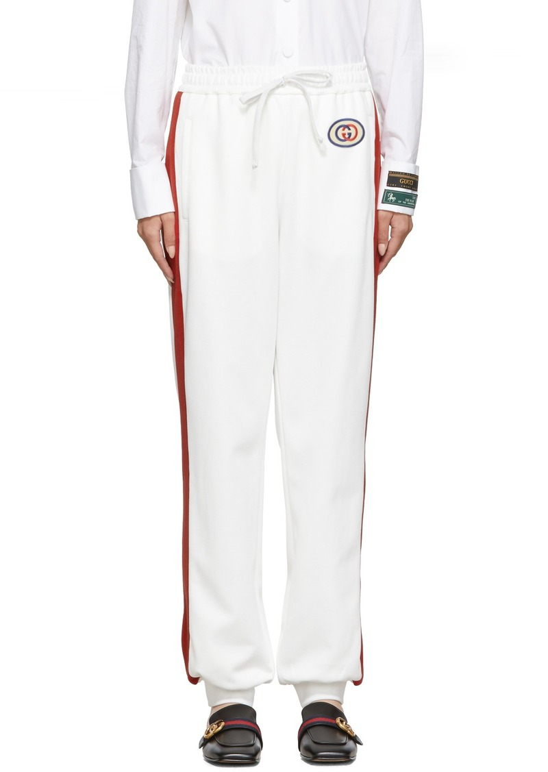 Gucci White GG Patch Lounge Pants
