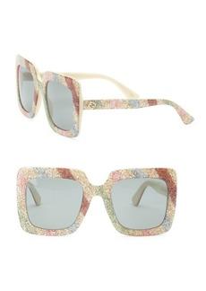 Gucci White Glitter Oversized Rectangular Sunglasses/53MM