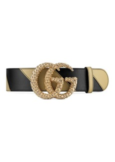 Gucci Wide GG Marmont Striped Leather Belt