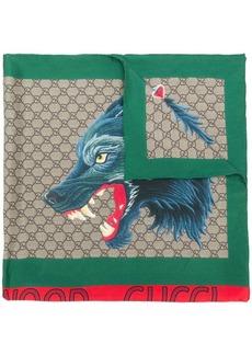 Gucci wolf print scarf