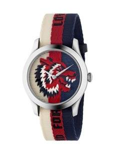 Gucci Wolf Stainless Steel & Striped Nylon Strap Watch