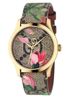 Women's Gucci G-Timeless Floral Print Gg Canvas Strap Watch