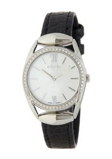 Gucci Women's Horsebit Diamond Croc Embossed Leather Strap Watch, 30mm - 0.51 ctw