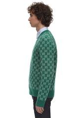 Gucci Wool Cashmere Blend Knit V Neck Sweater
