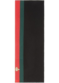 Gucci Wool cashmere scarf with Web