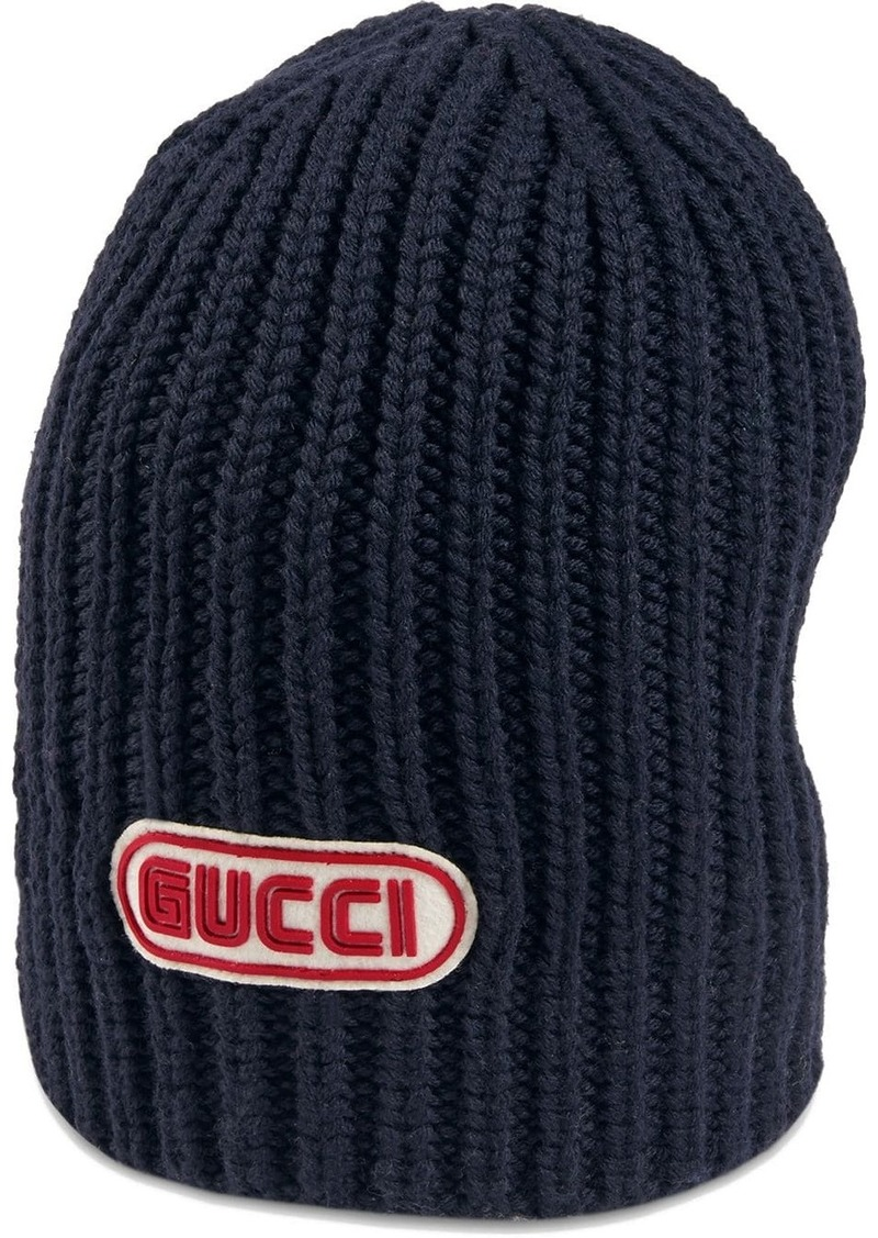 Wool hat with Gucci patch