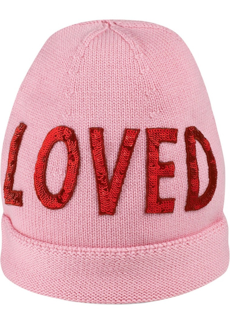 "f96ab52ba5e Gucci Wool hat with sequin ""Loved"""