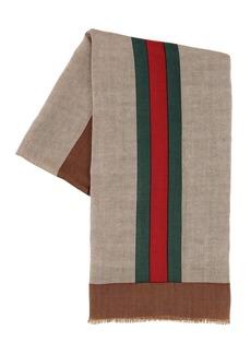 Gucci Wool, Linen & Silk Web Scarf
