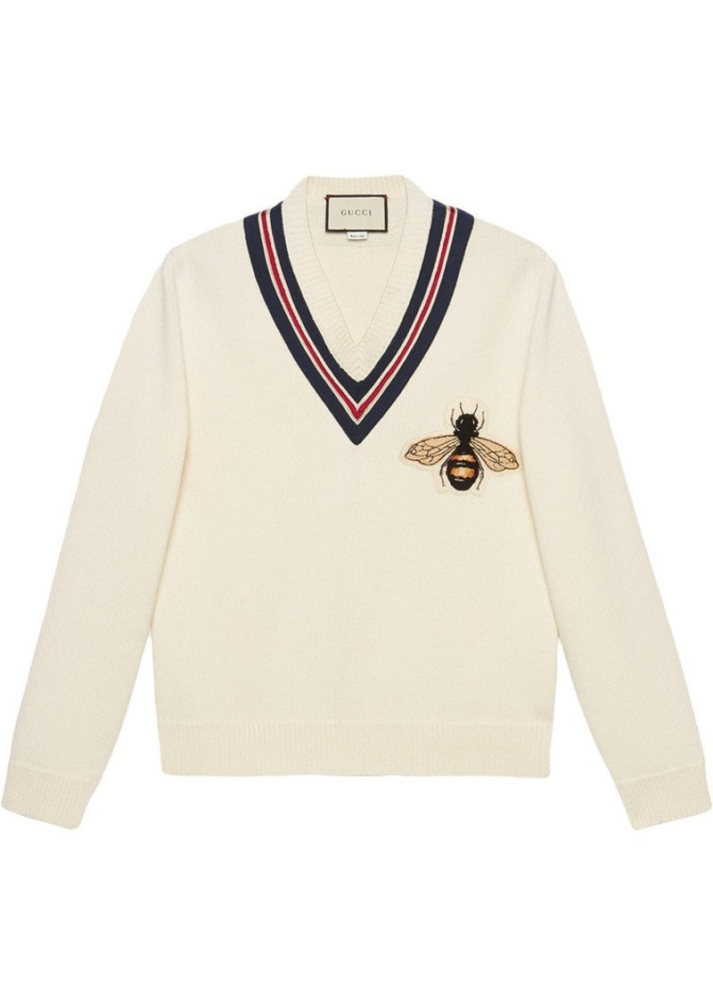 5e0ab6143 Gucci Wool sweater with bee appliqué | Sweaters