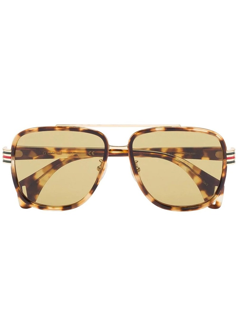 Gucci yellow and brown tortoise sunglasses