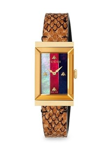 Gucci Yellow Gold PVD, Mother-Of-Pearl & Leather Strap Watch