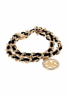 GUESS 2 Row Woven Chain Bracelet with Logo Charm