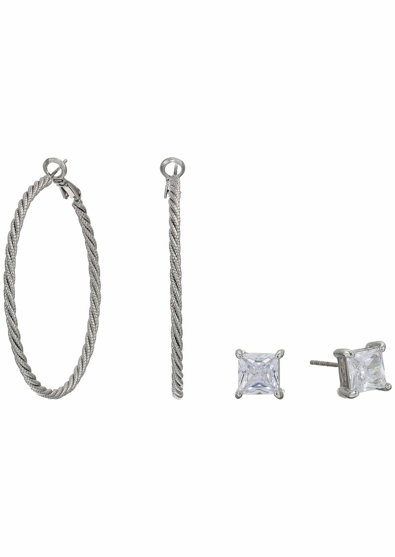 GUESS 6 mm Twist Hoop with Square CZ Stud Duo Earrings Set