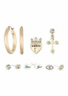 GUESS 6-Pair Earrings Set Hoop/Stud Mixed