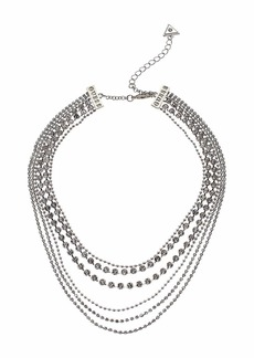 GUESS 6 Row Dainty Chain & Rhinestone Layer Necklace