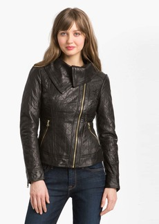 GUESS Asymmetrical Funnel Neck Leather Jacket