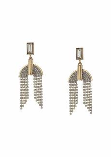 GUESS Baguette Top w/ Chain Drop Earrings