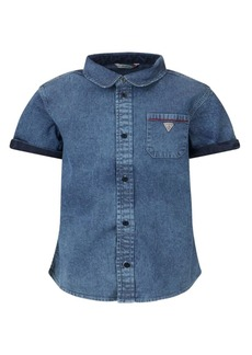 GUESS Big Boys Short Sleeve Stretch Denim Button Front Shirt