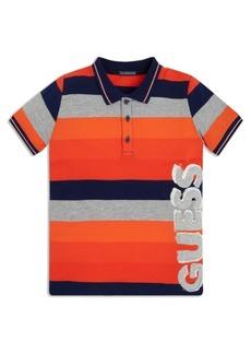 GUESS Big Boys Vertical Logo Yarn Dyed Stripe Short Sleeve Pique Polo T-shirt
