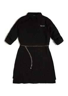 GUESS Big Girls Celestial Glitter Print Crepe Long Sleeve Shirt Dress with Chain Belt