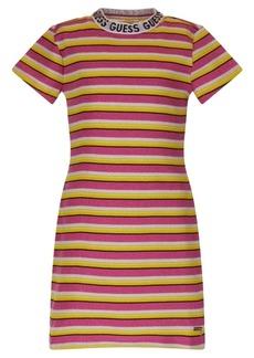 GUESS Big Girls Metallic Rib Knit Stripe Short Sleeve Dress