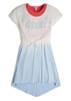 GUESS Big girls Organic Cotton Jersey 2-Fer Logo T-shirt and Tie Dye Tank Dress