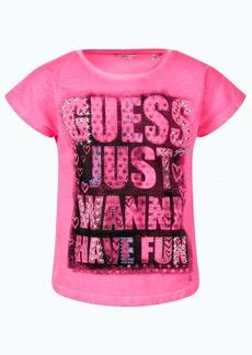 GUESS Big Girls Overdyed Slub Jersey Embellished Short Sleeve T-shirt