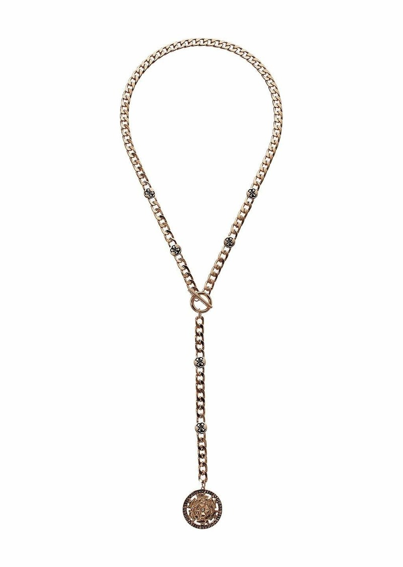 GUESS Chain Y-Necklace with Peiny Coin Drop Necklace