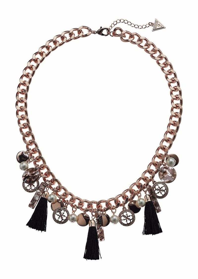 GUESS Chunky Chain with Drops and Tassels Necklace