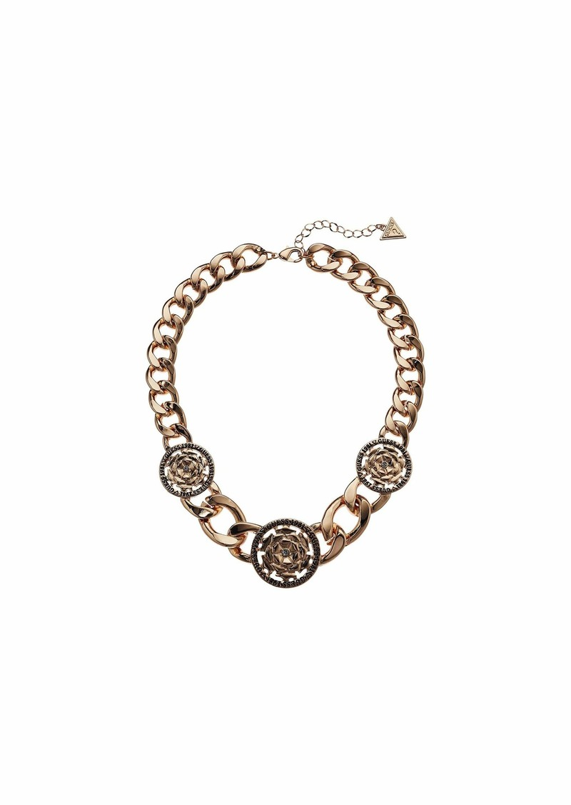 GUESS Chunky Chain with Stationed Peony Coins Necklace