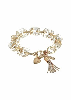GUESS Chunky Link Toggle Bracelet with Resin Links and Tassel