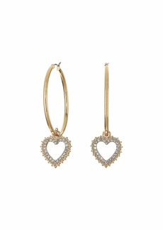 GUESS Click Top Hoop with Pave Heart Charm Earrings
