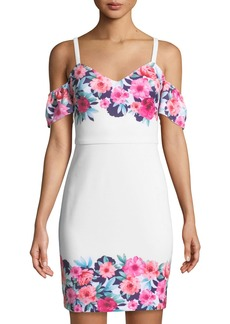 GUESS Cold-Shoulder Floral Bodycon Dress