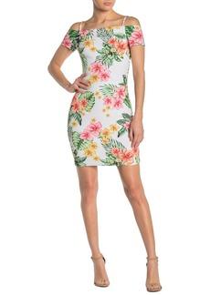 GUESS Cold Shoulder Tropical Floral Mini Dress