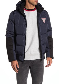 GUESS Colorblock Hooded Puffer Jacket