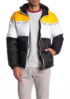 GUESS Colorblock Logo Hooded Puffer Jacket