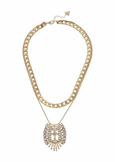 GUESS Double Row Chunky Chain with Crystal Pendant Necklace