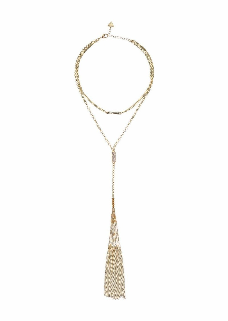 GUESS Double Row Necklace with Dainty Chain and Y-Neck Tassel