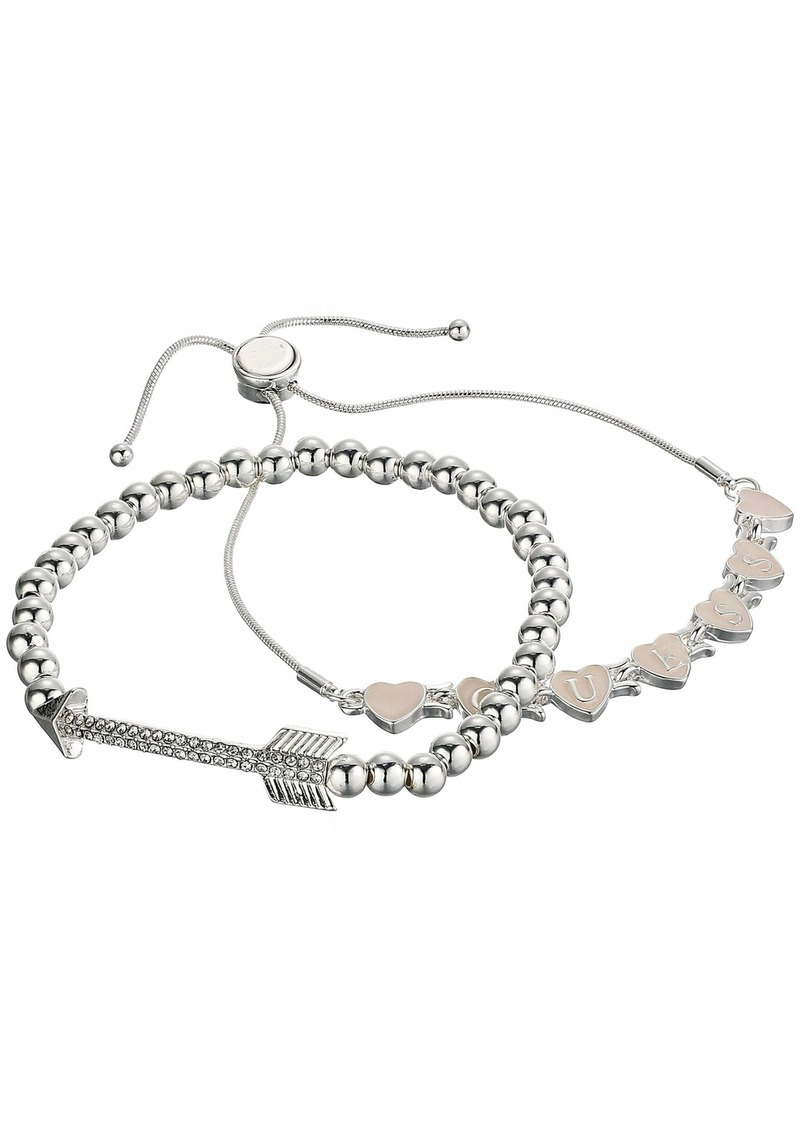 GUESS Duo Bracelet Set - Stretch with ID Bar and Slider Close Bracelet