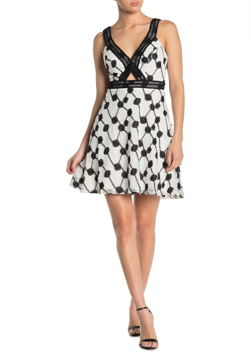 GUESS Eyelet Lace Front Cutout Dress