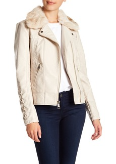 GUESS Faux Fur & Leather Moto Jacket