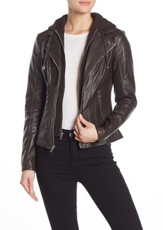 GUESS Faux Leather Removable Hooded Dickey Jacket