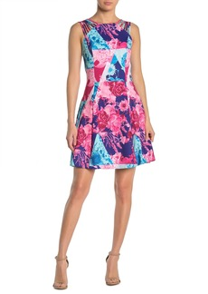 GUESS Floral Colorblock Strappy Fit & Flare Dress