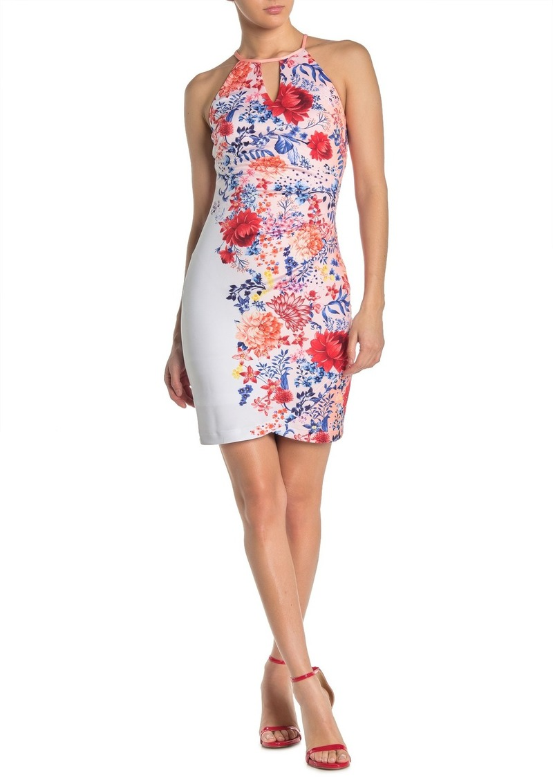 GUESS Floral Halter Keyhole Sheath Dress