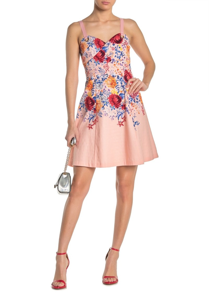 GUESS Floral Sweetheart Sleeveless Fit & Flare Dress