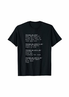 Funny Lyrics Guessing Things We Did Didn't Will Do Hit Songs T-Shirt