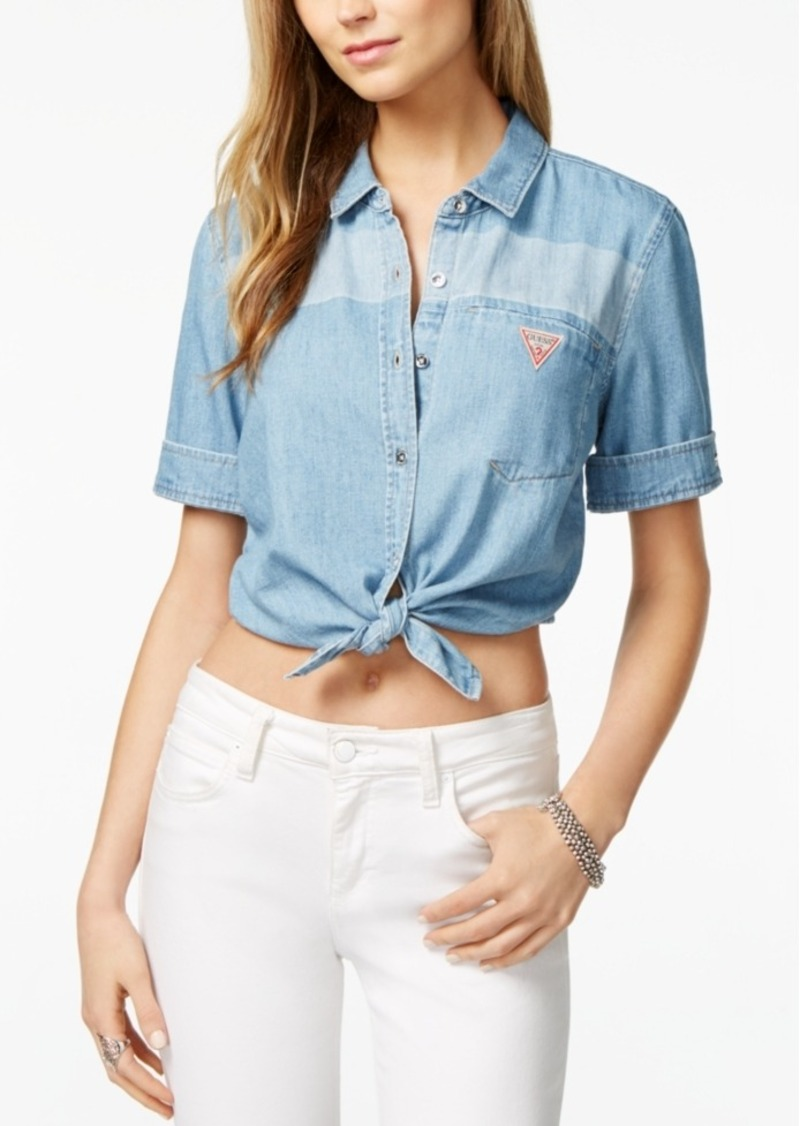 e0eeb9d30c6 GUESS Guess Originals Cotton Cropped Denim Shirt