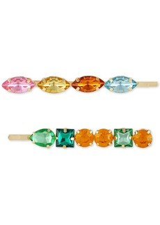 Guess 2-Pc. Gold-Tone Multicolor Crystal Bobby Pin Set